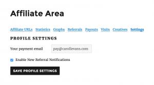 affiliate-area-settings